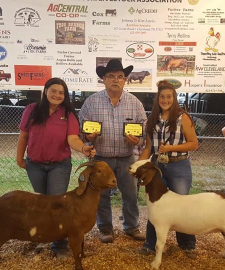 Parker Girls posing with their prized goats